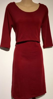 BURGUNDY JERSEY MATERNITY/NURSING DRESS SIZE S 10